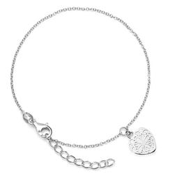 Staviori bransoletka z ażurowym sercem. srebro rodowane 0,925. wymiary 13x13 mm.  długość regulowana dowolnie.