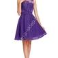 Fioletowa sukienka na wesele, komunie, połowinki, poprawiny z perłami wieczorowe