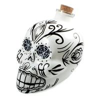 karafka czaszka z korkiem, ręcznie malowana, biała