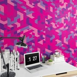 Różowo-fioletowe trójkąty - tapeta ścienna , rodzaj - tapeta flizelinowa