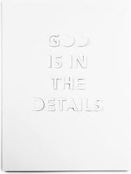 Plakat god is in the details 30 x 40 cm biały