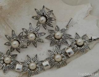 Madona - srebrny komplet z perłami