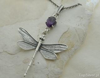 Ważka - srebrny wisiorek z ametystem
