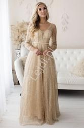 Złota brokatowa suknia wieczorowa z długim rękawem 254