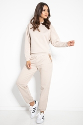 Zestaw bluza z kapturem i spodnie - beżowy
