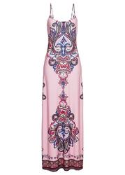Długa sukienka z nadrukiem bonprix jasnoróżowy wzorzysty