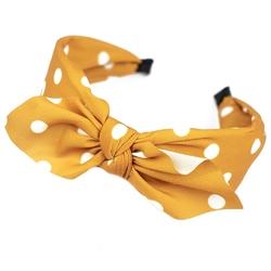Opaska do włosów żółta pin up kokarda szeroka