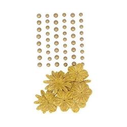 Samoprzylepne perełki+ kwiatki - 69 szt. - złote - ZŁO