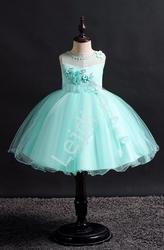 Miętowa sukienka krótka dla dziewczynki  700