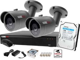 Zestaw do monitoringu ip keeyo h265+ full hd ir 30m 2x kamera tubowa 1tb
