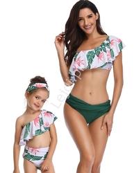 Bikini w liście dla mamy i córki na jedno ramię