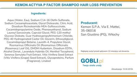 Kemon actyva p factor szampon zapobiegający wypadaniu włosów 1000ml