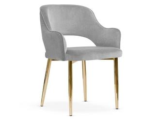 Ekskluzywne tapicerowane krzesło clement na złotych nogach