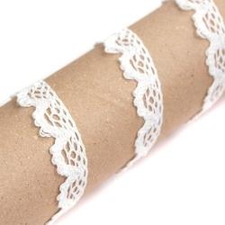 Koronka bawełniana 14 mm ozdobna 1 m - biała - biały