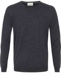 Sweter  pulower o-neck z wełny z merynosów grafitowy s
