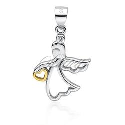 Srebrna zawieszka pr.925 anioł z pozłacanym sercem