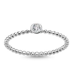 Staviori pierścionek z białego złota 0,585, 1 diament, szlif brylantowy, masa 0,07 ct., barwa h, czystość si1-si2.