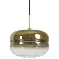 Szklana lampa wisząca ze złotym kloszem cherle