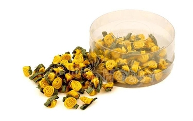Komplet różyczek atłasowych 100szt. - żółty ciepły - żółcie