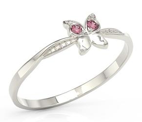 Pierścionek motylek z białego złota z różowymi cyrkoniami bp-88b-c - białe  cyrkonia pink