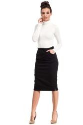 Czarna spódnica ołówkowa midi z kieszeniami