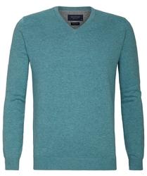 Turkusowy sweter  pulower V-neck z bawełny PIMA  S