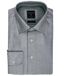 Elegancka jasnoszara koszula profuomo z klasycznym kołnierzykiem 38