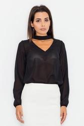 Czarna elegancka bluzka z szarfą na szyi