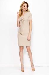 Beżowa sukienka mini z kokardą