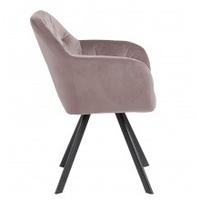 Różowe krzesło z podłokietnikami lola pikowane welur