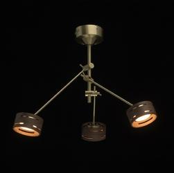 Złota lampa wisząca z regulowanymi reflektorami led regenbogen megapolis 725010203