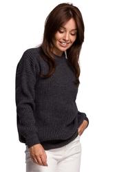 Sweter oversize o przedłużonym kroju - grafitowy