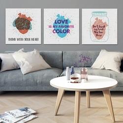 Love color - komplet trzech obrazów na płótnie , wymiary - 80cm x 80cm 3 sztuki