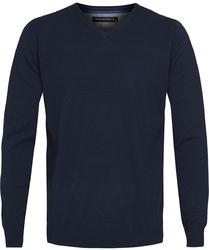 Granatowy bawełniany sweter  pulower v-neck s