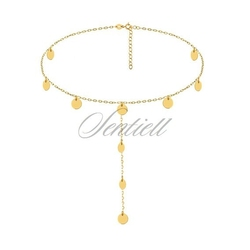 Srebrny naszyjnik pr.925 choker z kółeczkami, łańcuszek - pozłacany