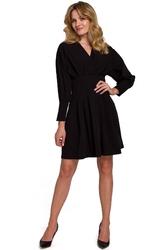 Czarna mini sukienka kopertowa z mankietem