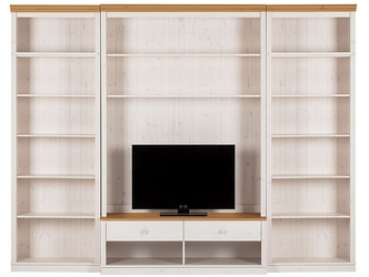 Potrójny regał sosnowy z szafką rtv anita biały z cokołem w kolorze naturalnym  288x45x219 cm