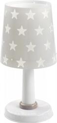 Lampka nocna szara w gwiazdki stojąca na szafkę