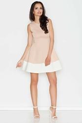 Beżowa letnia sukienka z rozkloszowanym dołem z kontrastową lamówką