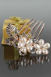 Grzebyk do włosów, złoty z perłowymi kwiatami   biżuteria ślubna
