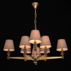 Żyrandol 8-ramienny, antyczny mosiądz i szare abażury mw-light neoclassic 700012208