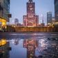 Warszawa w kałuży - plakat premium wymiar do wyboru: 59,4x84,1 cm