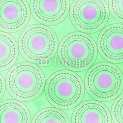 Obraz na płótnie canvas czteroczęściowy tetraptyk zielone tło, różowe kółka