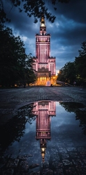 Warszawa mroczny pałac kultury - plakat premium wymiar do wyboru: 61x91,5 cm
