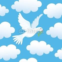 Obraz na płótnie canvas dwuczęściowy dyptyk bezszwowe tło z dove w chmurach