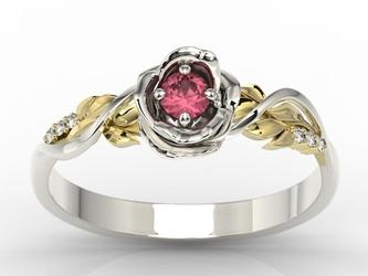 Pierścionek złoty w kształcie róży z rubinem i cyrkoniami lp-7715bz-crub