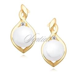 Srebrne pozłacane kolczyki pr.925 perły białe z cyrkonią - żółte złoto