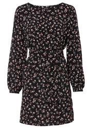 Sukienka w kwiaty bonprix czarno-różowy w kwiaty