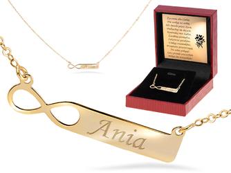Złoty Naszyjnik pr. 333 nieskończoność z blaszką Grawer złota kokardka - Złoty Naszyjnik pr. 333 nieskończoność z blaszką GRAWER