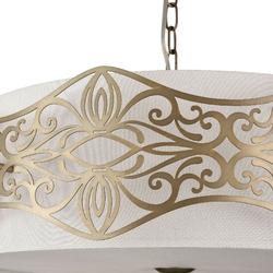 Duża lampa wisząca, kremowy abażur i metalowa ramka burgeon maytoni classic arm959-pl-06-g